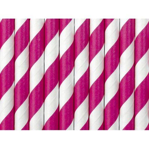 Trinkhalme, Papier, Spirale weiss, pink, 10er Pack, L 19,5 cm