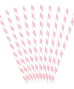 Trinkhalme, Papier, Spirale weiss, rosa, 10er Pack, L 19,5 cm, gefaechert