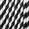 Trinkhalme, Papier, Spirale weiss, schwarz, 10er Pack, L 19,5 cm