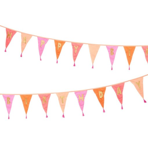 Wimpelkette HAPPY BIRTHDAY, Stoff Rosatoene, Goldstick, Wolltroddeln, 29 x 300 cm