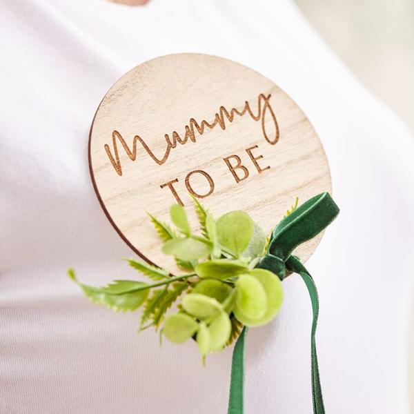 Anstecker ''Mummy To Be'', Holz natur, 10 x 13 cm, Beispielbild