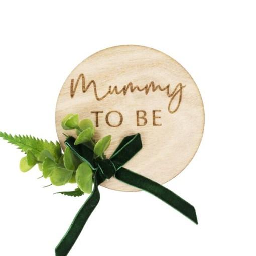 Anstecker ''Mummy To Be'', Holz natur, 10 x 13 cm