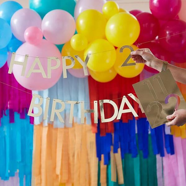 Buchstaben-Girlande ''Happy Birthday'', gold, zum Selbstgestalten, 2x Ziffern 0-9, 11 x L 150 cm, Wechselbeispiel