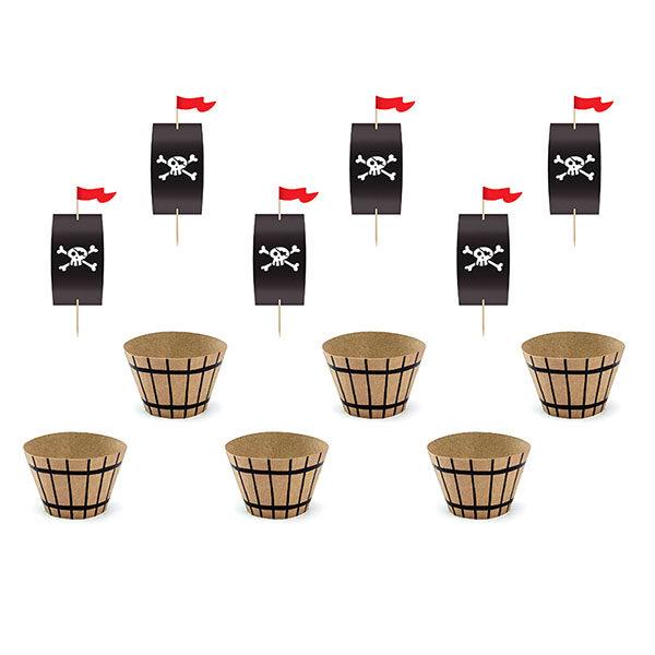 Cupcake-Kit ''PIRATES PARTY'', Muffinformen, Segel, Fahnenstecker, 6er Pack, Toppers circa 20cm h