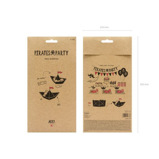 Faltschiffe ''Pirate's Party'', schwarze Faltblaetter und rote Wimpel, 6er Pack, 19 x 14 cm, Packung