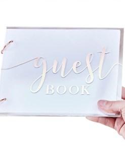 Gaestebuch ''guest book'', Acryldeckel transparent, Metallic Druck rosegold, 2 Binderinge, 32 Seiten, 18 x 22 cm