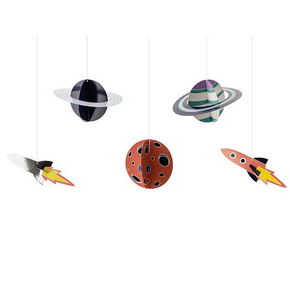 Haengedekoration ''Space Party'', Planeten und Raumschiffe, 5er Pack, 3,5 - 16,5 cm