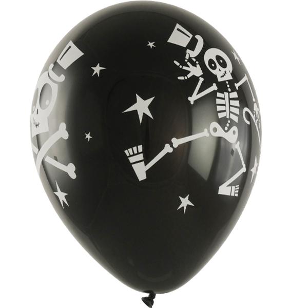Schwarzer Latexballon in 28cm mit Skelettaufdruck
