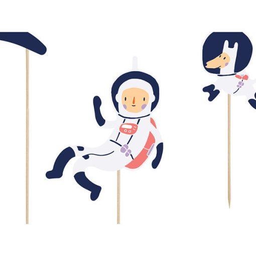 Kuchentopper ''SPACE PARTY'', Rakete-Astronaut usw. sort., Holzstecker, 7er Pack, 4 - 19 cm, Detail