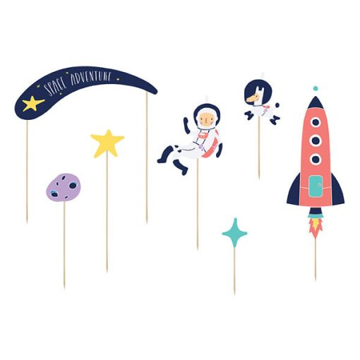 Kuchentopper ''SPACE PARTY'', Rakete-Astronaut usw. sort., Holzstecker, 7er Pack, 4 - 19 cm