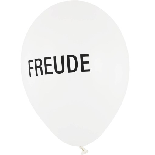 BALLONI DESIGN Latexballon 28cm Freude weiß