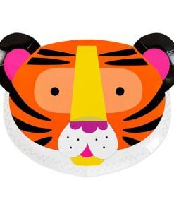Pappteller, Tiergesichter als Motive, Loewe-Zebra, 12er Pack, 16cm x 22,3cm, Tiger