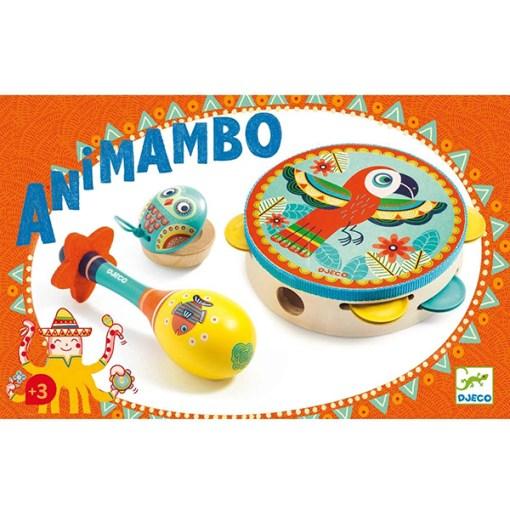 Animambo Instrumenten 3er-Set, Tambourine, Maracas, Castanette, Holz bunt, Tiermotive, Packung