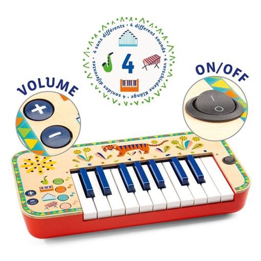 Animambo Synthesizer, Keyboard, Holz, Kunststoff, bunt, Tiger, 36,5 x 19 x 5 cm, Details