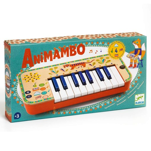 Animambo Synthesizer, Keyboard, Holz, Kunststoff, bunt, Tiger, 36,5 x 19 x 5 cm, Verpackung
