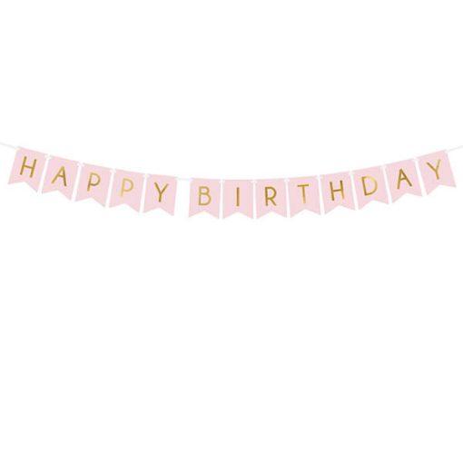 Fahnenkette HAPPY BIRTHDAY, Pappe rosa, Schrift gold, 15 x 175 cm