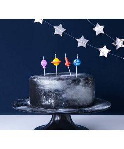 Form-Kerzenstecker ''Space'', Rakete, Erde, Saturn, Ballon, 4er Pack, ca. 2-3 cm, dekobeispiel