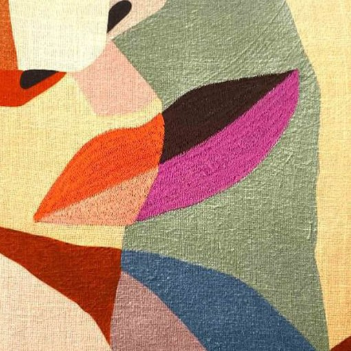 Kissen ''Paula'', Bezug inklusive Innenkissen, Oekodruck, 100% Baumwolle, 50x50cm, Detail