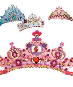 Krone selbst machen, Prinzessin, Diadem, Krone m. Steinen, Aufklebern, Schablonen, 26 x 12 cm, Beispiele