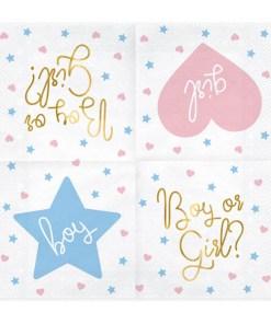 Servietten ''Boy or Girl'', weiss, metallic gold, Sterne, Herzen rosa, hellblau, 20er Pack, 33 x 33 cm, aufgefaltet