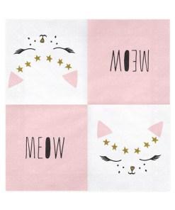 Servietten ''Kitty'', weiss, Katzengesicht rosa-gold-schwarz, 20er Pack, 33 x 33cm, aufgefaltet