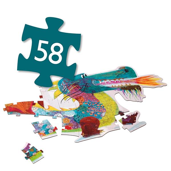 Silhouetten-Puzzle ''Leon der Drache'', 58 Teile, B 1,38 m, Anzahl Teile
