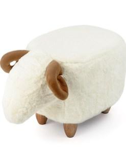Hocker Le Mouton, Schafform, Polyester weiss, Beine Holz natur, 36x32x62