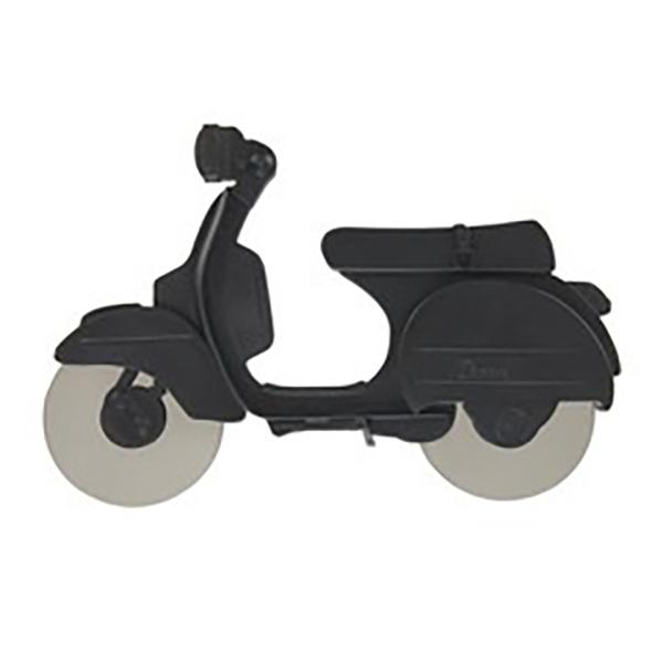 Pizzaschneider Motorroller, ABS-Kunststoff schwarz, Edelstahl-Rollmesser, Aufstellstaender, 11,5x17,5x1,7 cm, Seitenansicht 2