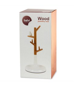 Schmuckstaender Baeumchen mit Vogel, Bambus, Kunststoff weiss, 28 x 13,7 x 13,7 cm, Packung