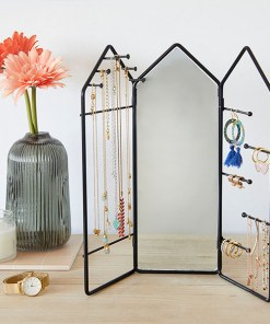 Schmuckstaender House, 3 Teile mit Scharnieren, Spiegel, Metall schwarz, 29,5x32,5x2 cm, Dekobeispiel