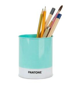 Schreibutensilienbehaelter Pantone, Metall tuerkis-weiss, D 8,6 x H 10 cm, Beispielbild befuellt