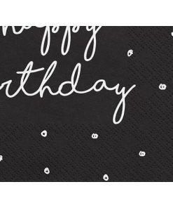 Servietten, schwarz, Druck weiss ''happy birthday'', Krone, Kringel, 20er Pack, 33 x 33cm, Detail