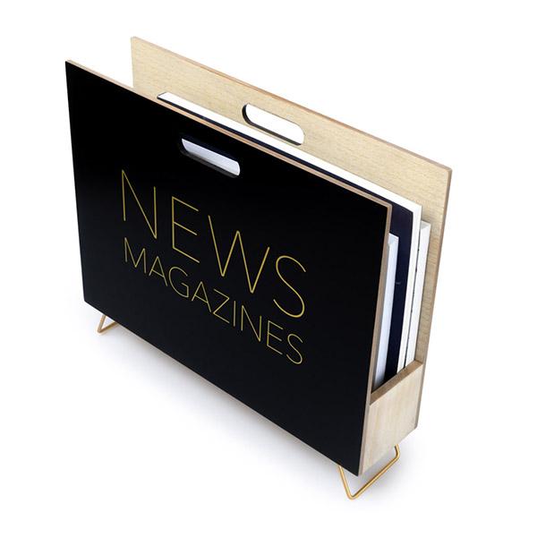 Zeitungsstaender News, Holz schwarz, innen natur, 2 Griffloecher, MDF-Holz, 32x38x9 cm, Seitenansicht 1