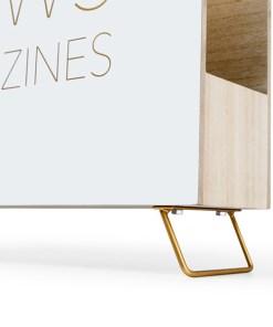 Zeitungsstaender News, Holz weiss, innen natur, 2 Griffloecher, MDF-Holz, 32x38x9 cm, Detail