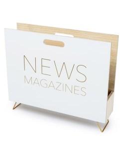 Zeitungsstaender News, Holz weiss, innen natur, 2 Griffloecher, MDF-Holz, 32x38x9 cm