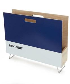 Zeitungsstaender Pantone, 2 Griffloecher, Holz blau-weiss, innen natur, 28x38x9 cm