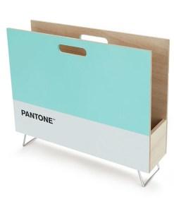 Zeitungsständer Pantone, 2 Grifflöcher, Holz tuerkis-weiß, innen natur, 28x38x9 cm