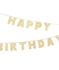 Buchstaben-Girlande ''HAPPY BIRTHDAY'', Pappe glitter-gold, H 16 cm L 3 m