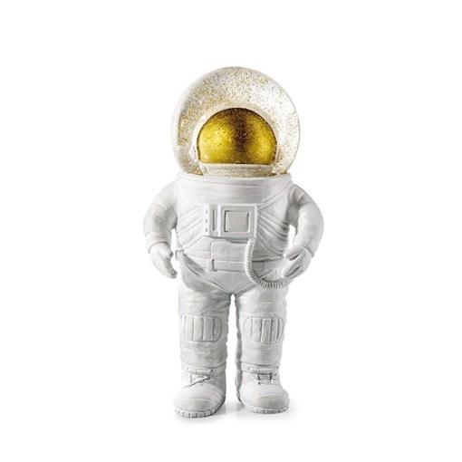 Dekofigur, Astronaut m. Glaskugel m. Wasser, Glitzer, weiß-gold, Polyresin, 18 x 7 cm