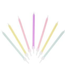 Kerzen, lang-duenn, 16er Box, pastell gelb-apricot-mint-flieder, D 0,5 H 10 cm