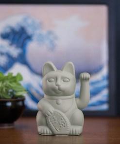 Lucky Cat, Kunststoff grau, 1x AA-Batterie (nicht enthalten), 15 x 10,5 cm, Beispielbild
