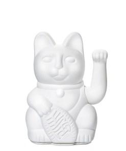 Lucky Cat, Kunststoff weiss, 1x AA-Batterie (nicht enthalten), 15 x 10,5 cm