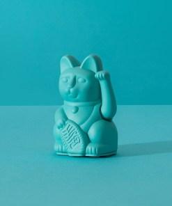 Lucky Cat mini, Kunststoff tuerkis, 1x AA-Batterie (nicht enthalten), 6,7 x 5,2 x 9,8 cm, Dekobeispiel