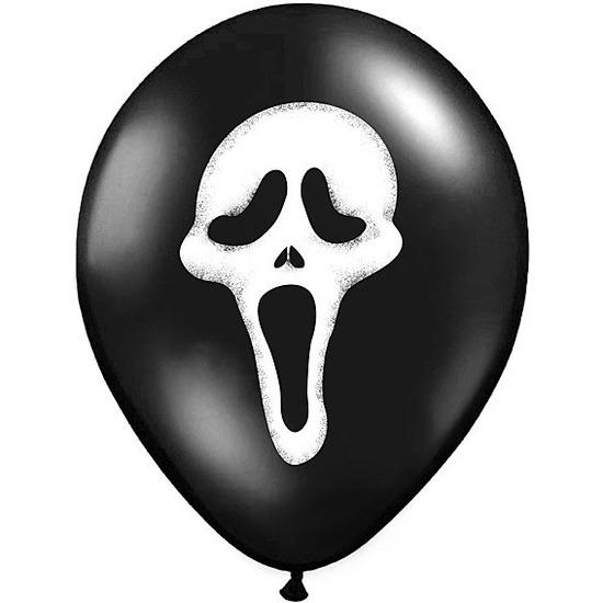 6x Zwarte ballonnen Scream doodshoofd Halloween 30 cm