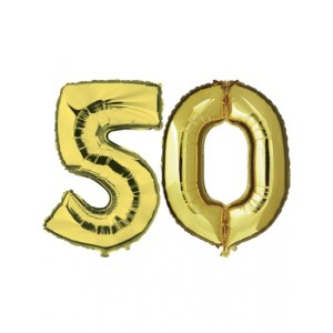 Opblaas 50 jaar ballonnen goud