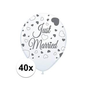 40x Just Married ballonnen 30 cm bruiloft versiering
