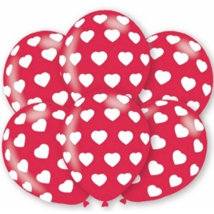 6x stuks party ballonnen met hartjes motief 27.5 cm