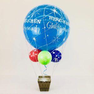 Geschenk-Ballon mit Korb heliumbefüllt 65 cm