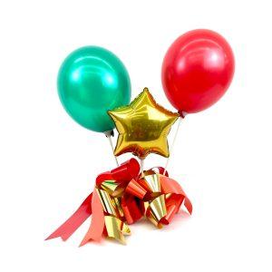 Tischdeko mit 3 Ballons und Schleife Lila-Silber