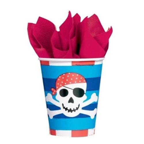 Ποτήρια πάρτυ χάρτινα πειρατές (8 τεμ)